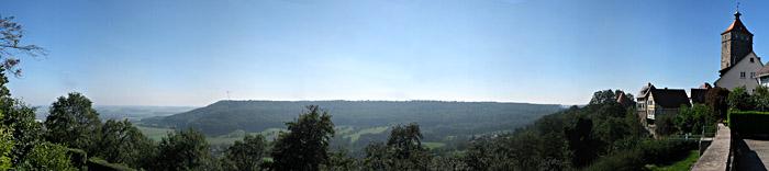 Aussicht über das Hohenloher Land von Waldenburg aus