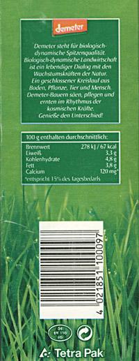 Seitenaufdruck einer demeter / dennree - Milchtüte; Copyright: demeter / dennree