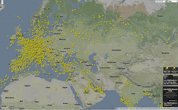 aktuelle Flüge über Europa