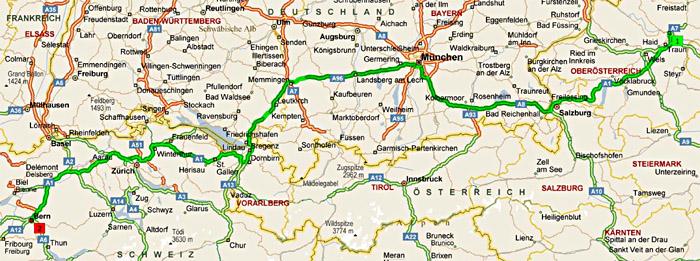 Fahrtstrecke von Linz nach Bern