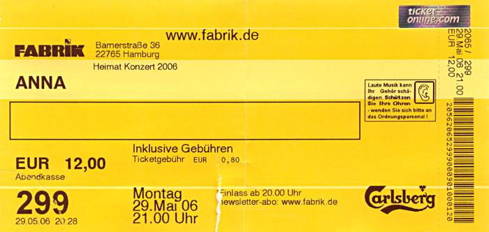 Eintrittskarte zum Anna - Konzert
