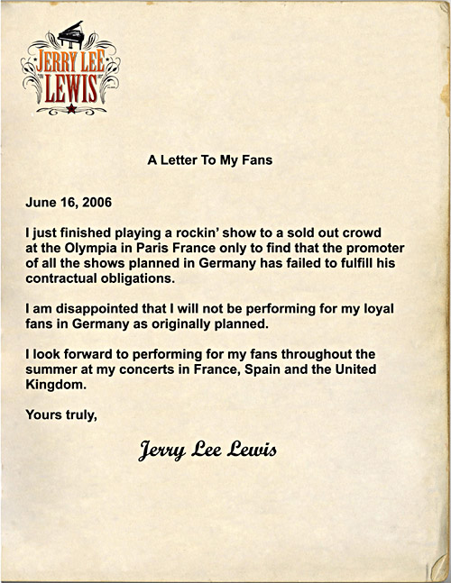 Absage der Deutschlandkonzerte von Jerry Lee Lewis